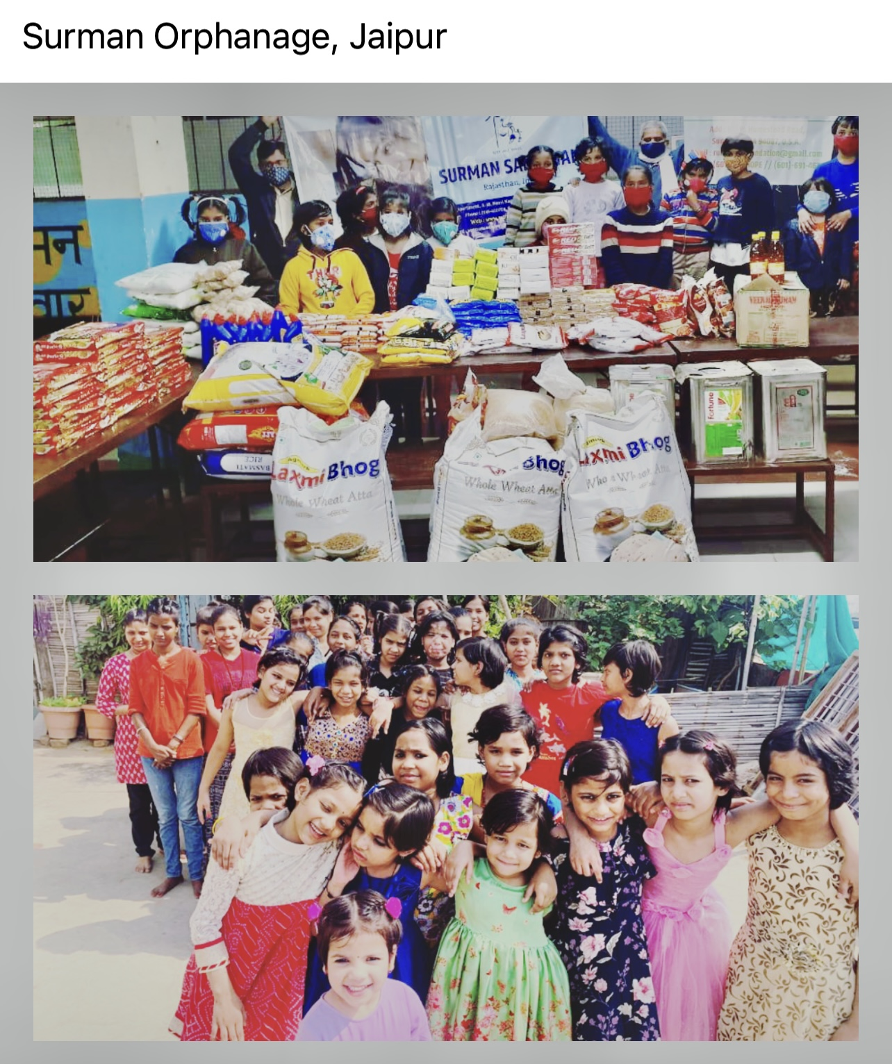 Orphanage support - groceries, clothes, books, facility upgrade